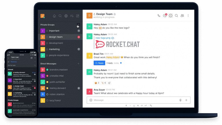 Mobile and Web Devise Mockup Chat App